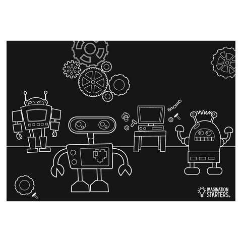 "Reversible Robots and Blank Chalkboard Placemat 12""x17"""