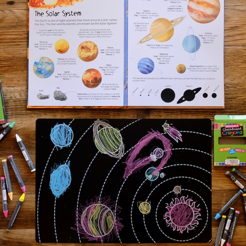 "Reversible Solar System and Blank Chalkboard Placemat 12""x17"""