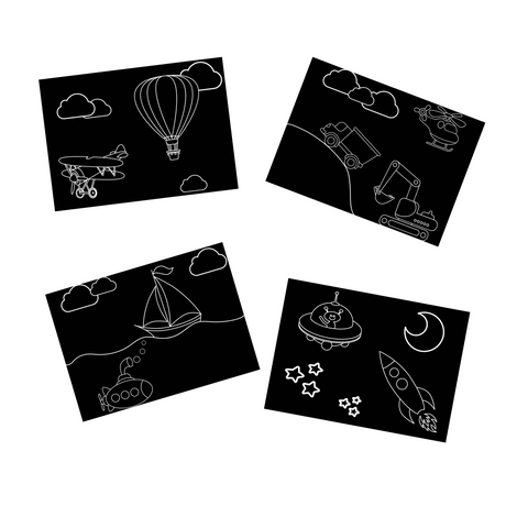 Transportation Travel Size Chalkboard Mats Set of 4