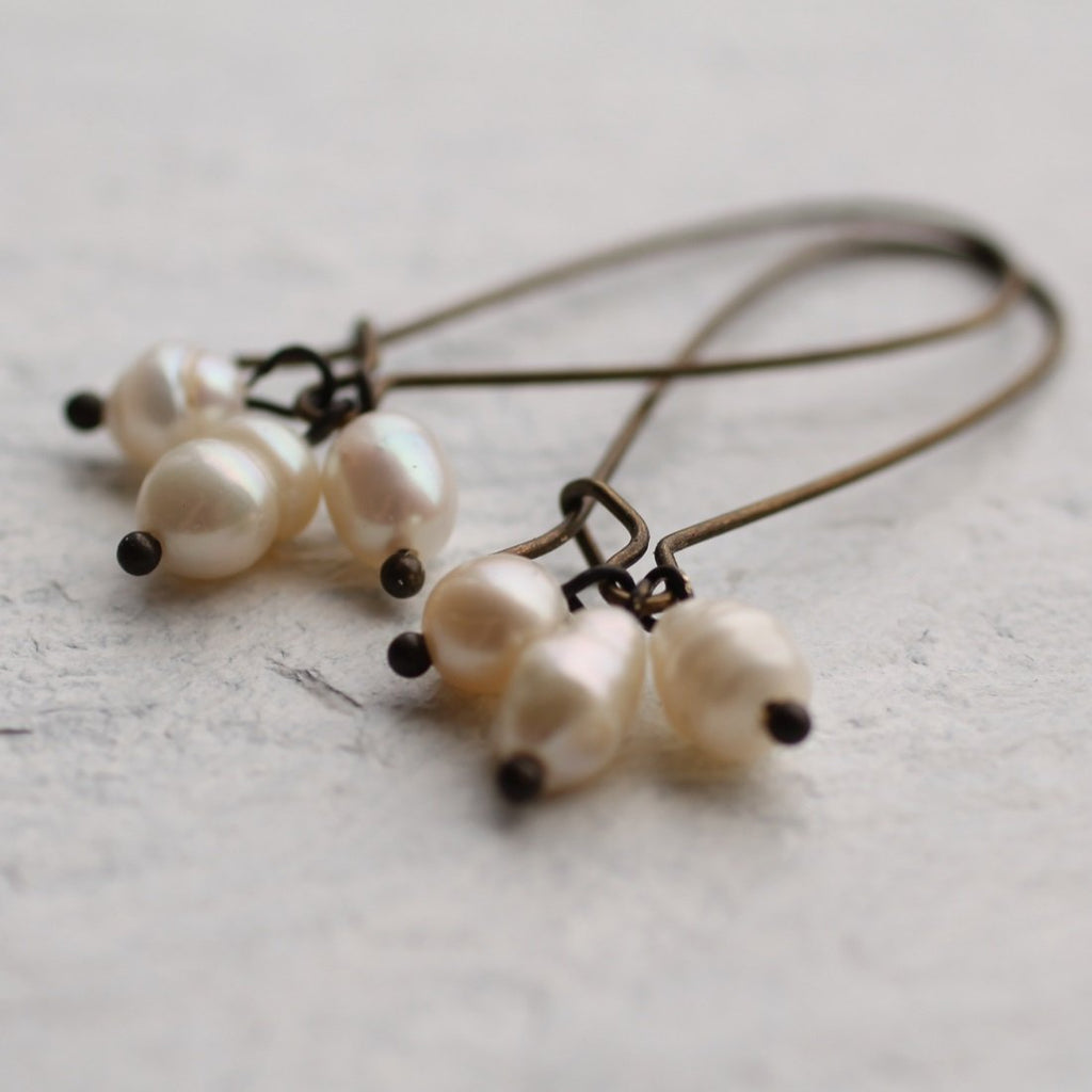 Blackened Pearl Earrings - Earrings