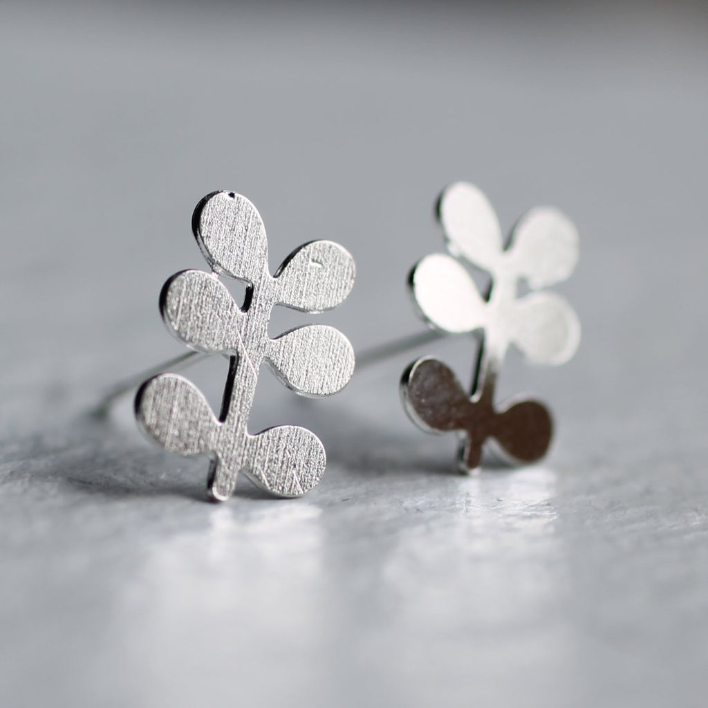 Silver Sprig Earrings - Earrings