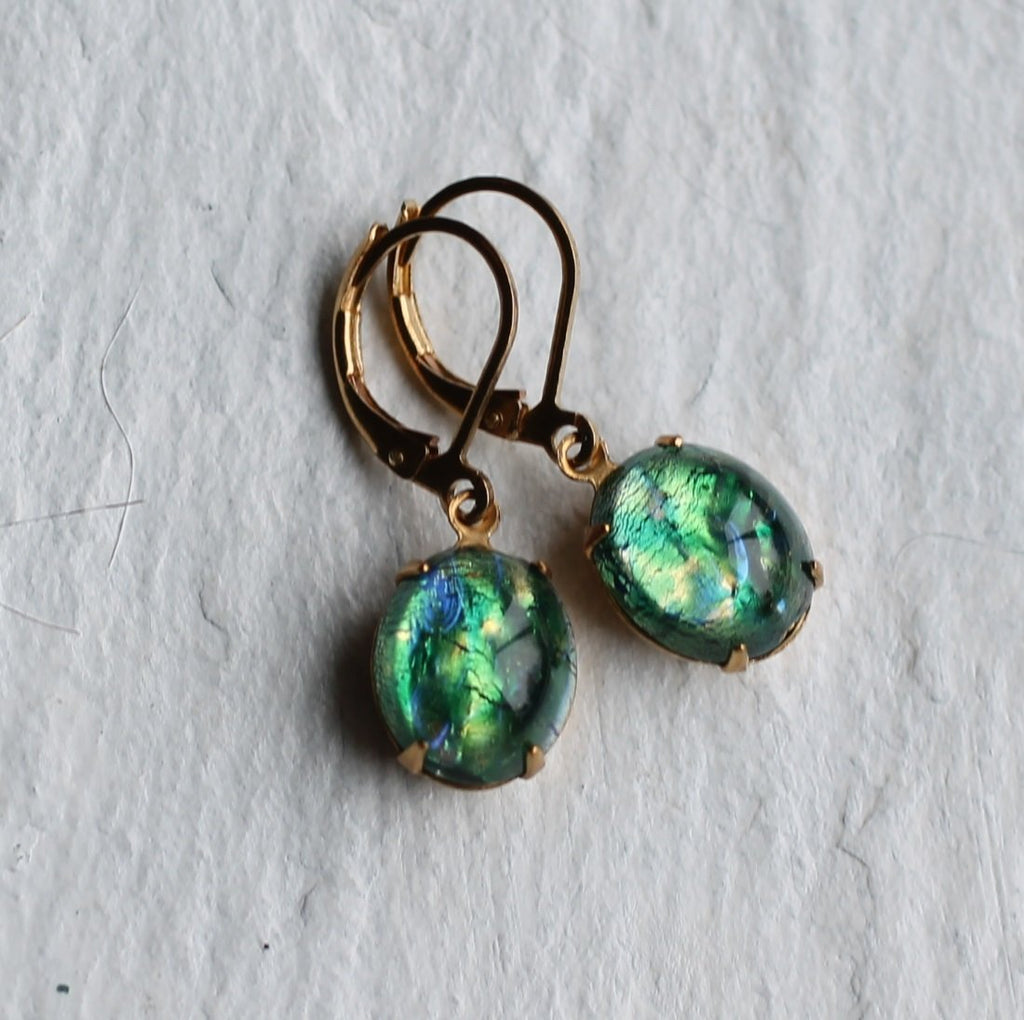 Peacock Emerald Earrings - Earrings