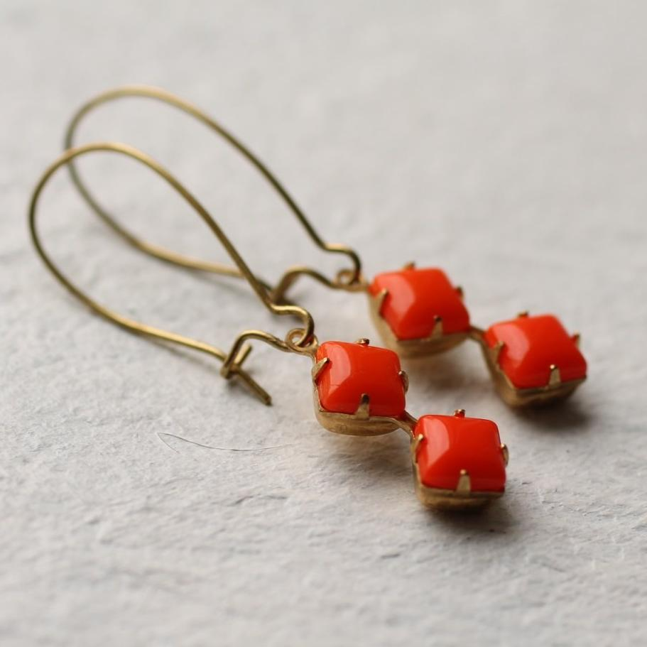 Orange Geometric Earrings - Earrings