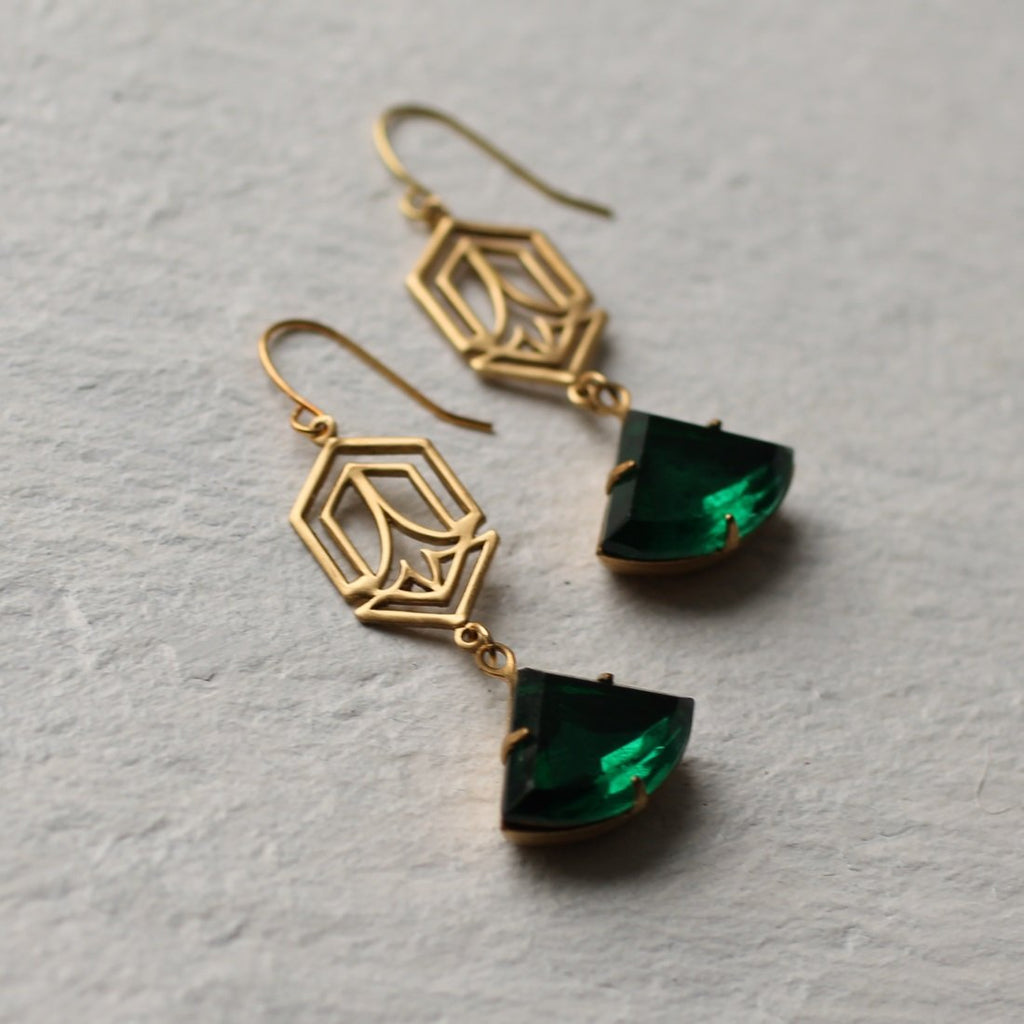 Green Deco Earrings
