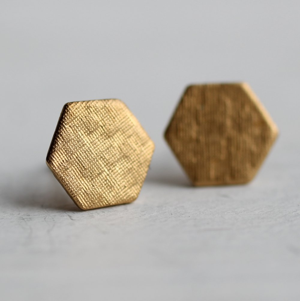 Hexagon Honeycomb Stud Earrings