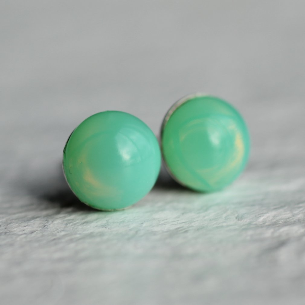 Apple Opal Stud Earrings - Earrings