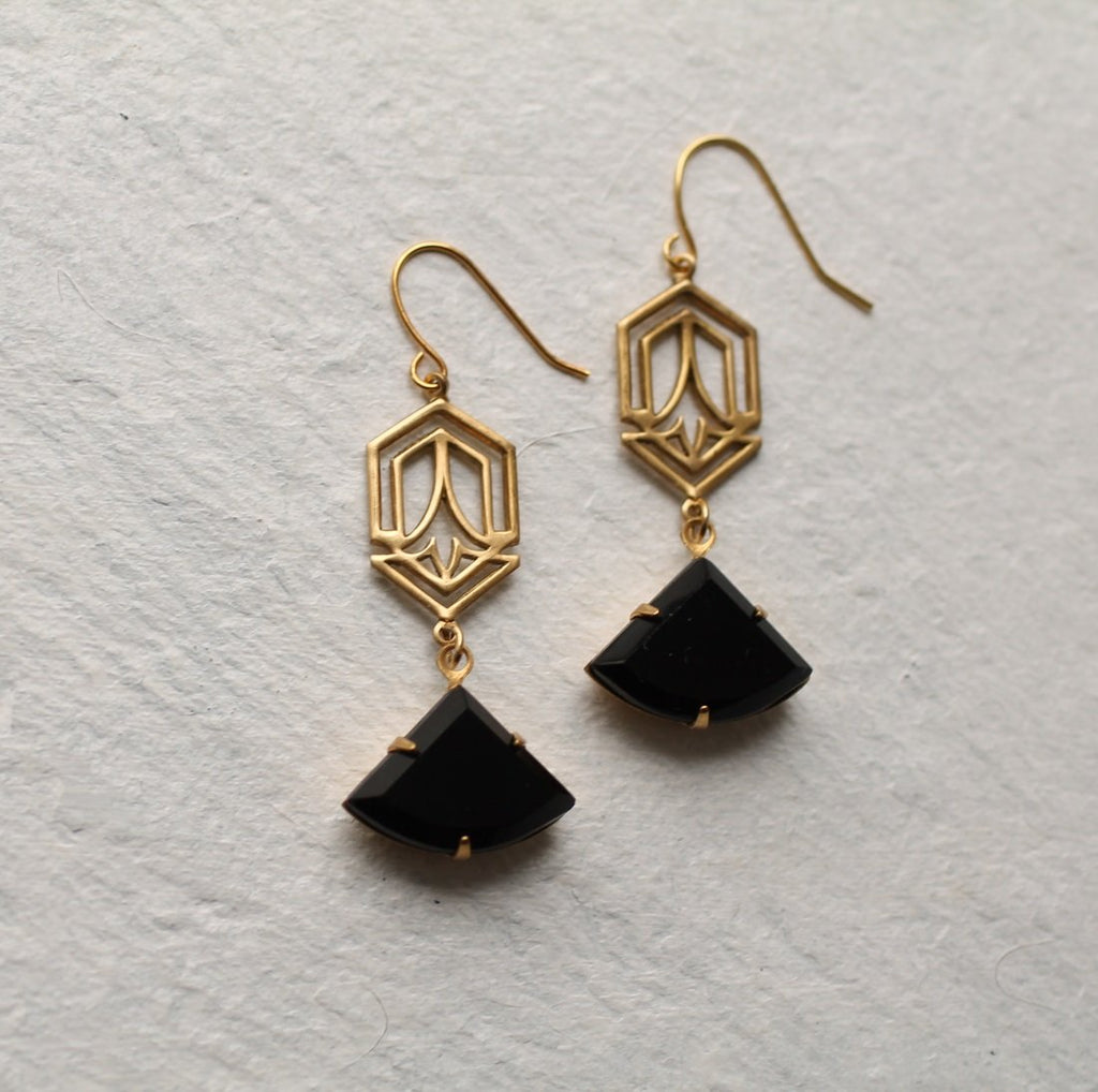 Black Deco Earrings - Earrings