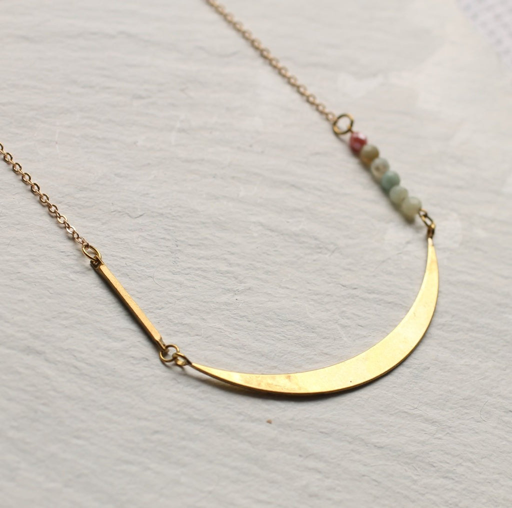 Gemstone Crescent Necklace - Necklaces