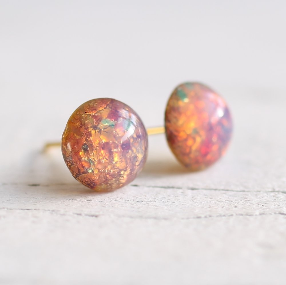 Pink Opal Stud Earrings - Earrings