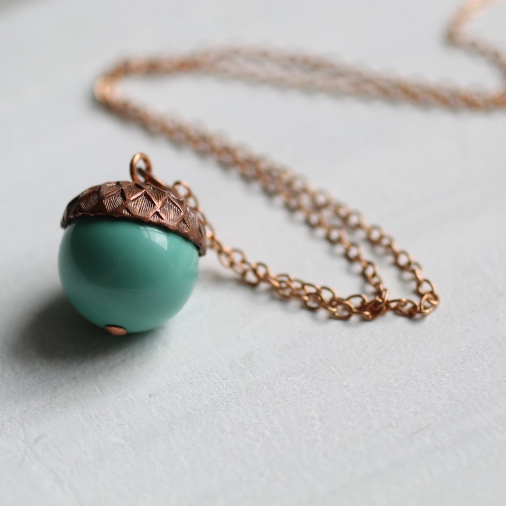 Turquoise Acorn Necklace - Necklaces