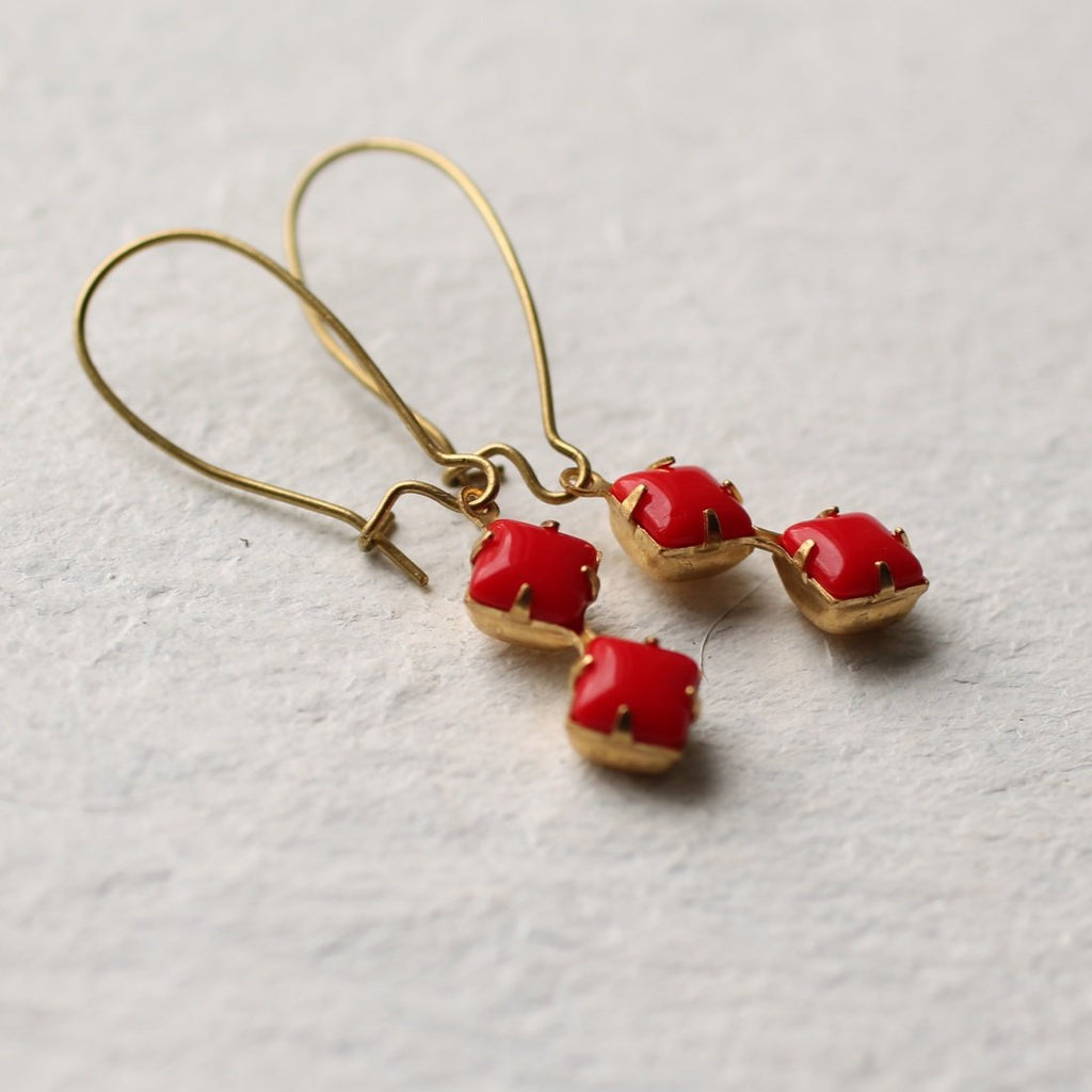 Red Geometric Earrings - Earrings