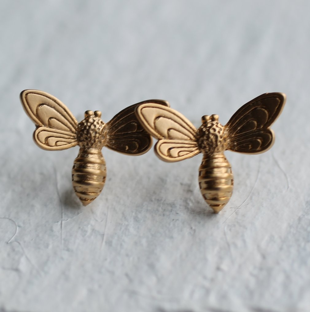 Gold Bee Earrings - Earrings