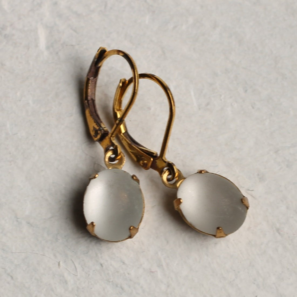 Frosted White Earrings - Earrings