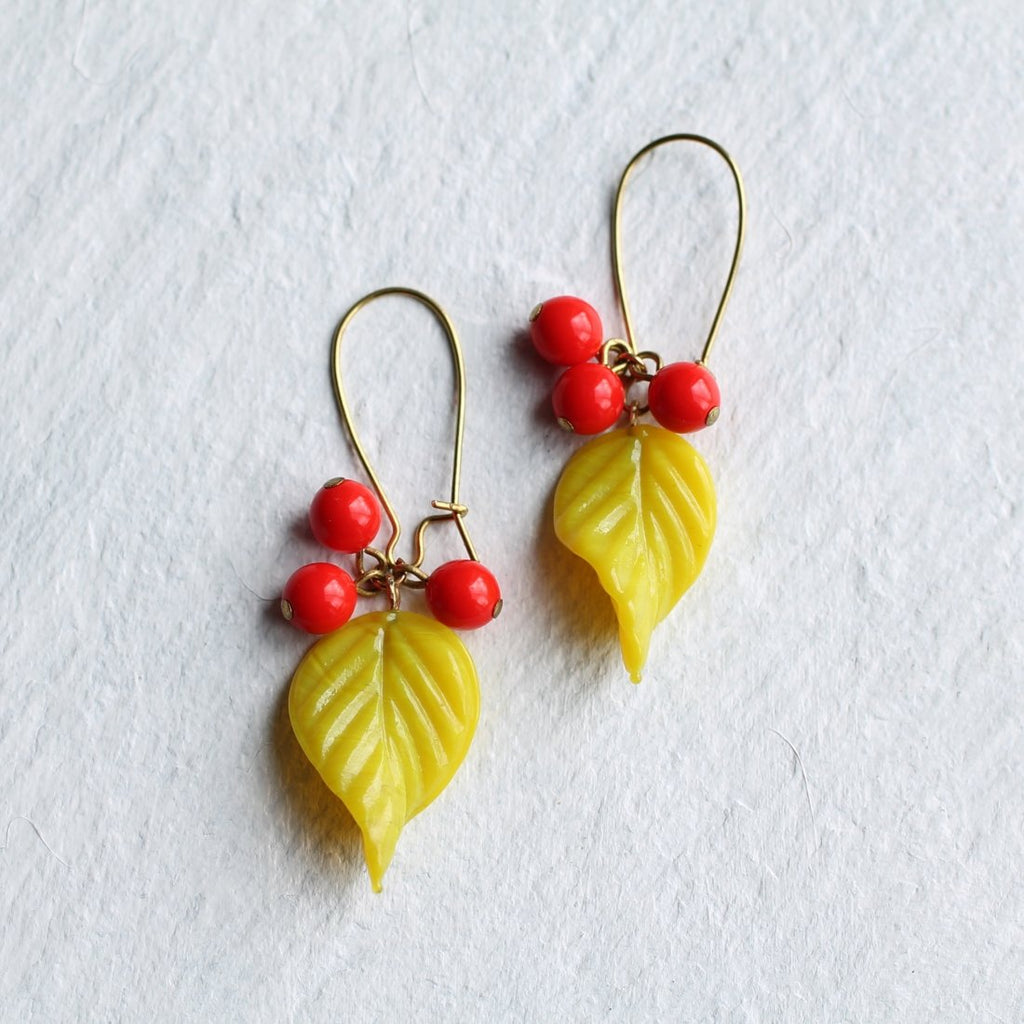 Neon Yellow Vine Earrings - Earrings