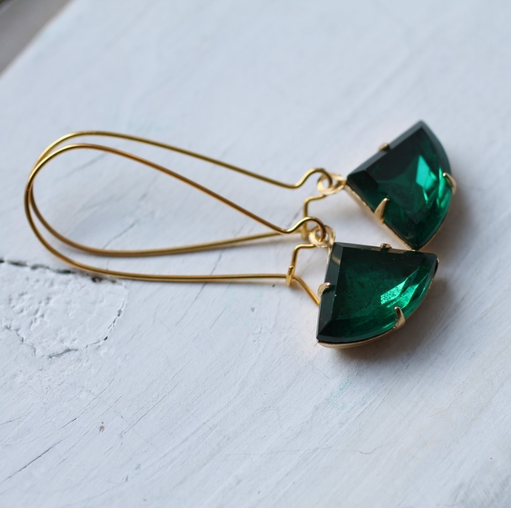 Emerald Green Deco Earrings - Earrings