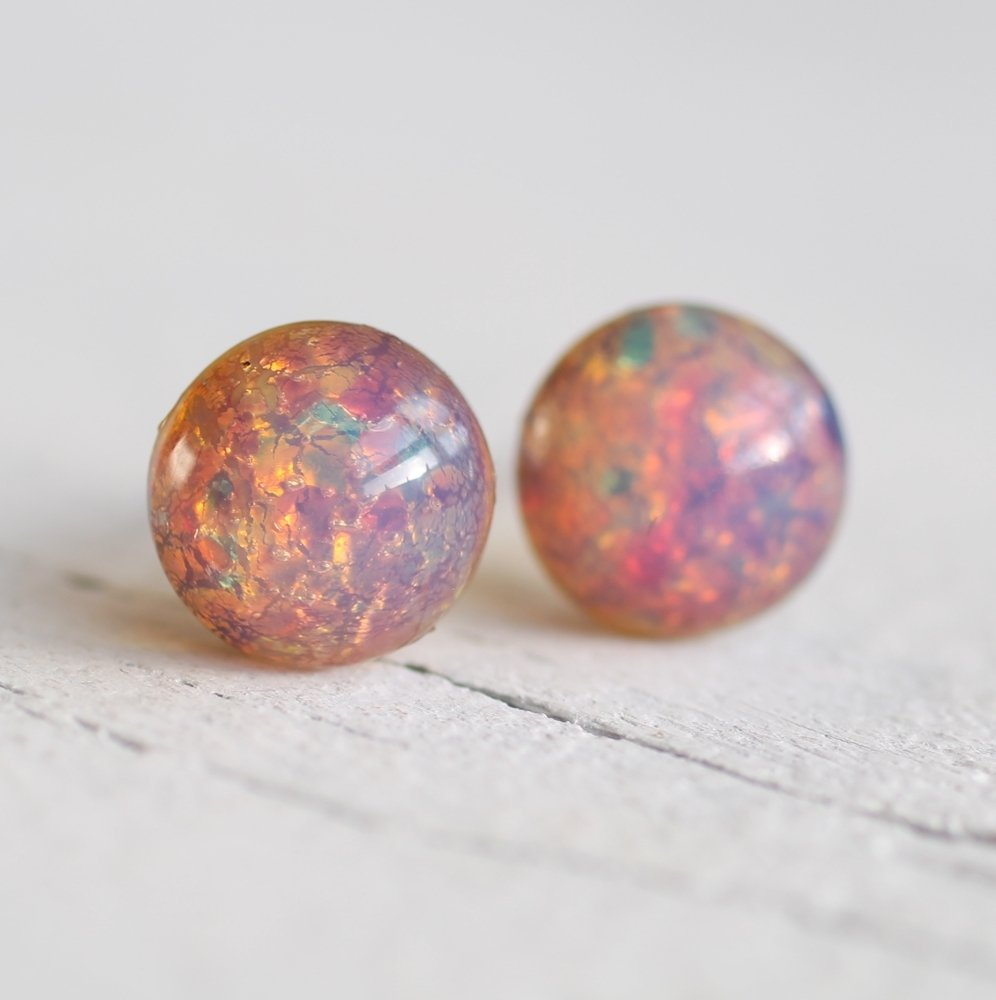 Pink Opal Stud Earrings