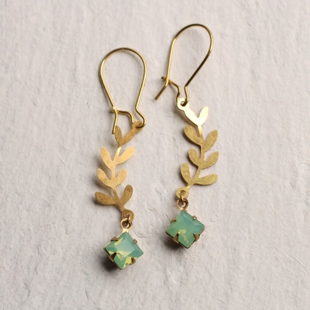Opal Leaf Drop Earrings - Earrings