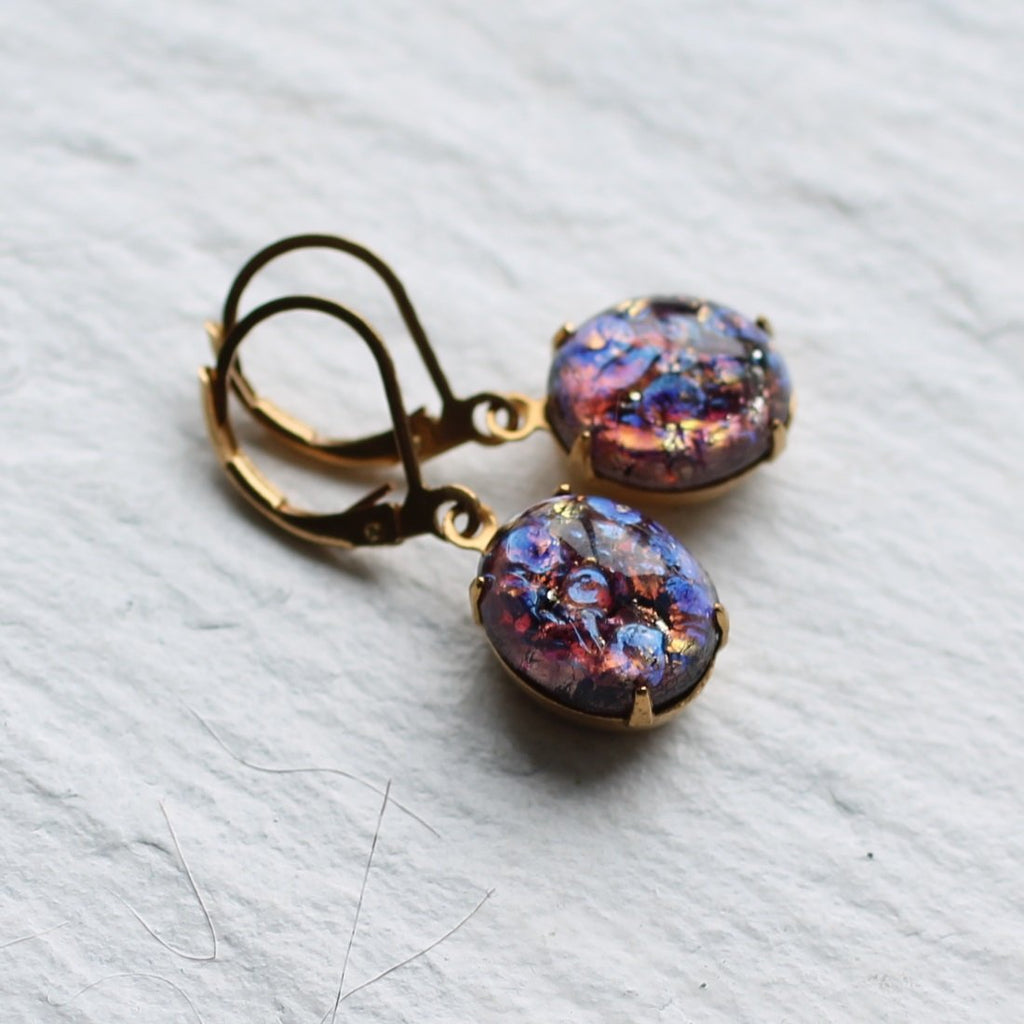 Blackcurrant Opal Earrings - Earrings