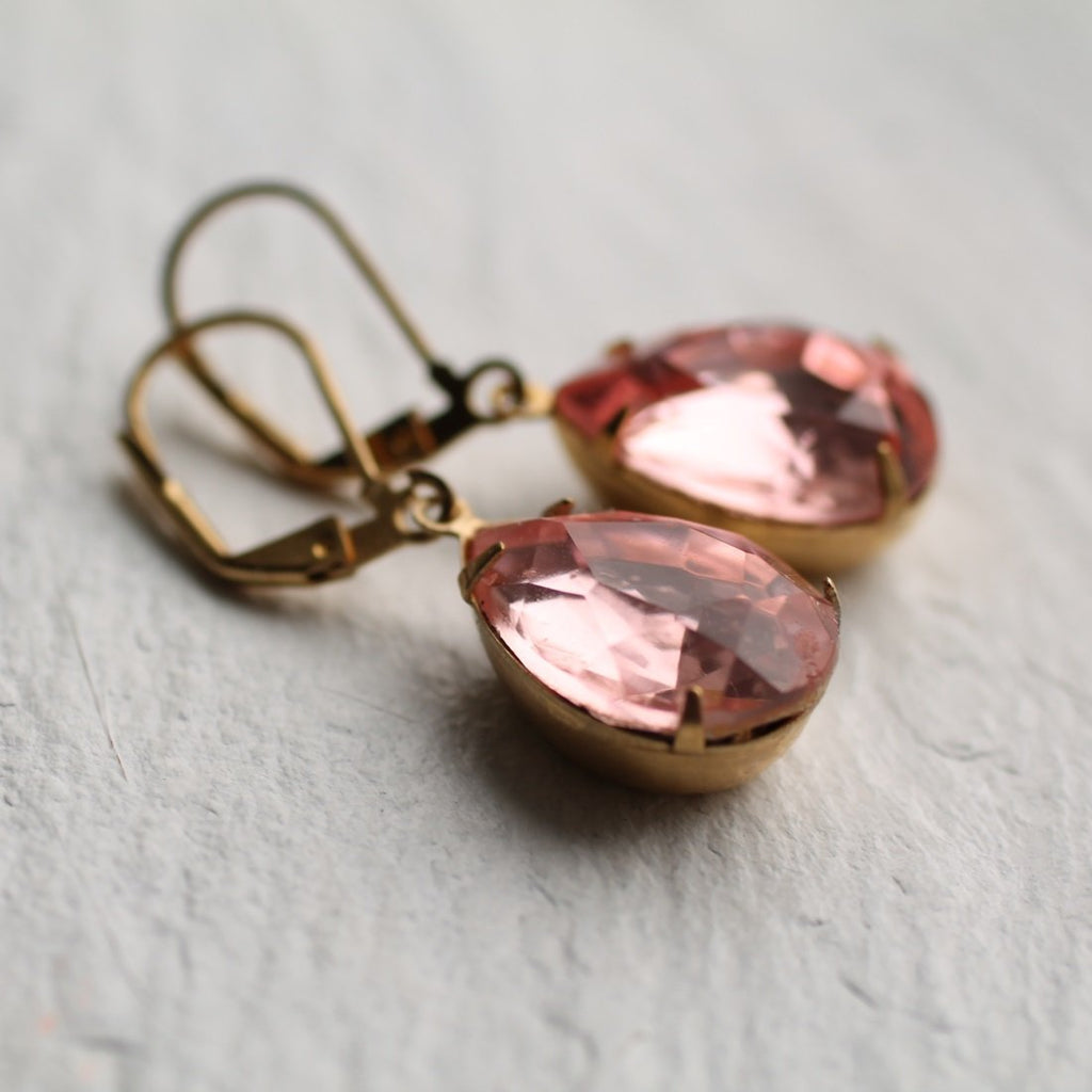Dusky Peach Teardrop Earrings - Earrings