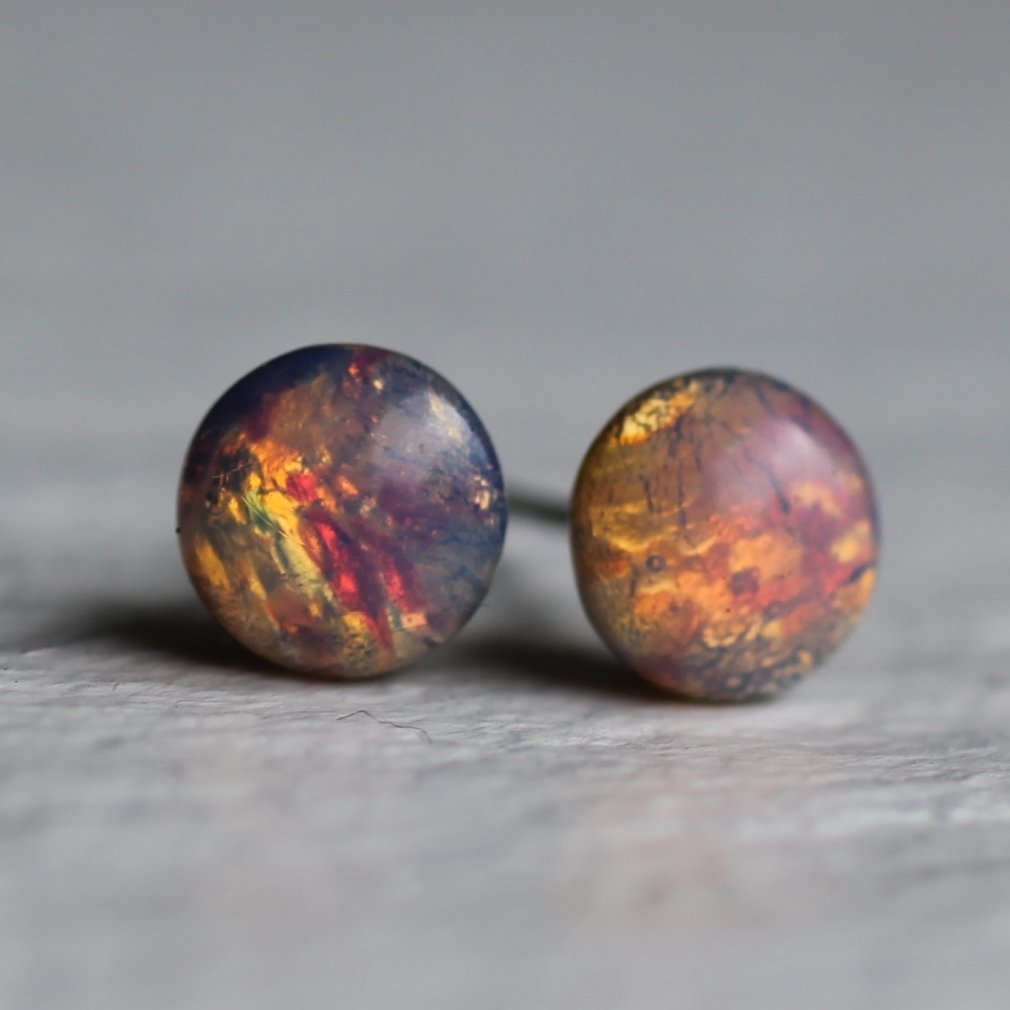 Pink Opal Studs - Earrings
