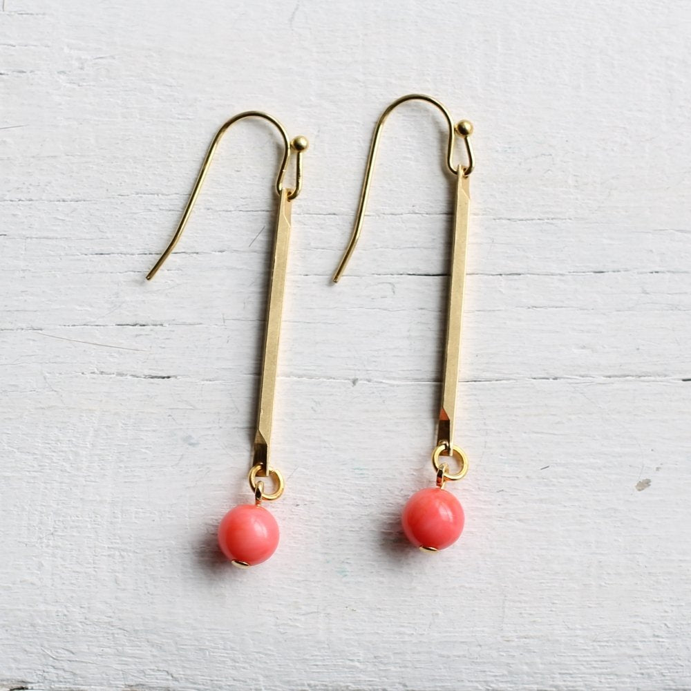 Coral Stick Earrings