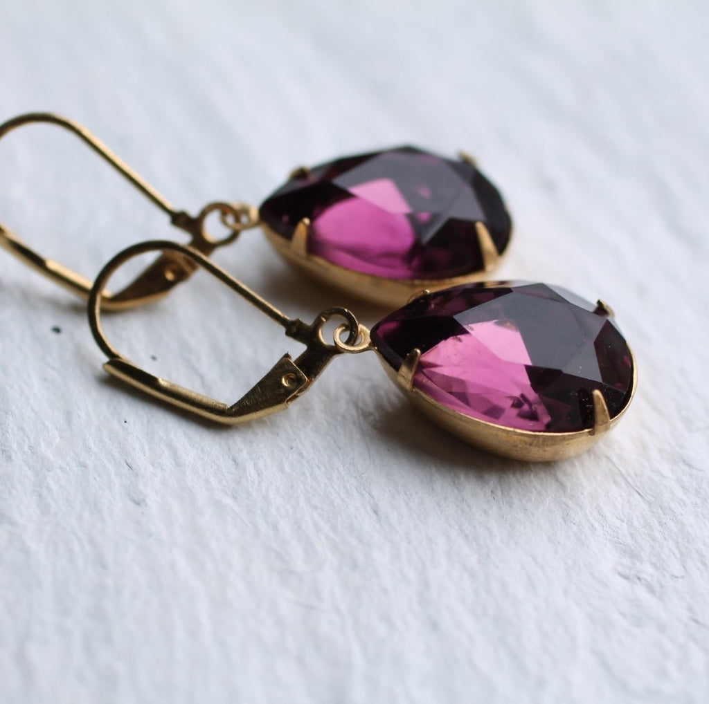 Amethyst Purple Earrings - Earrings