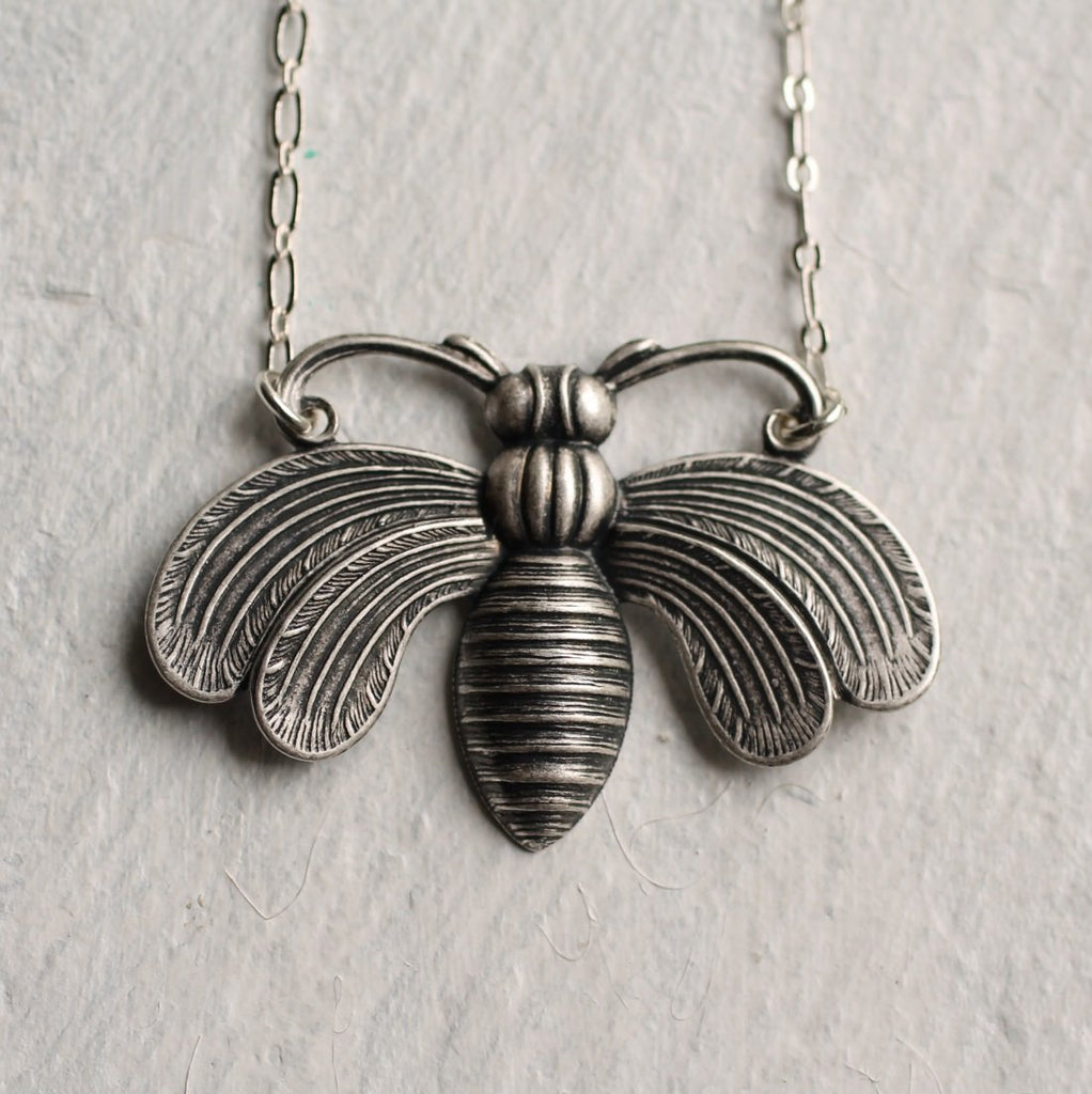 Silver Bee Necklace - Necklaces