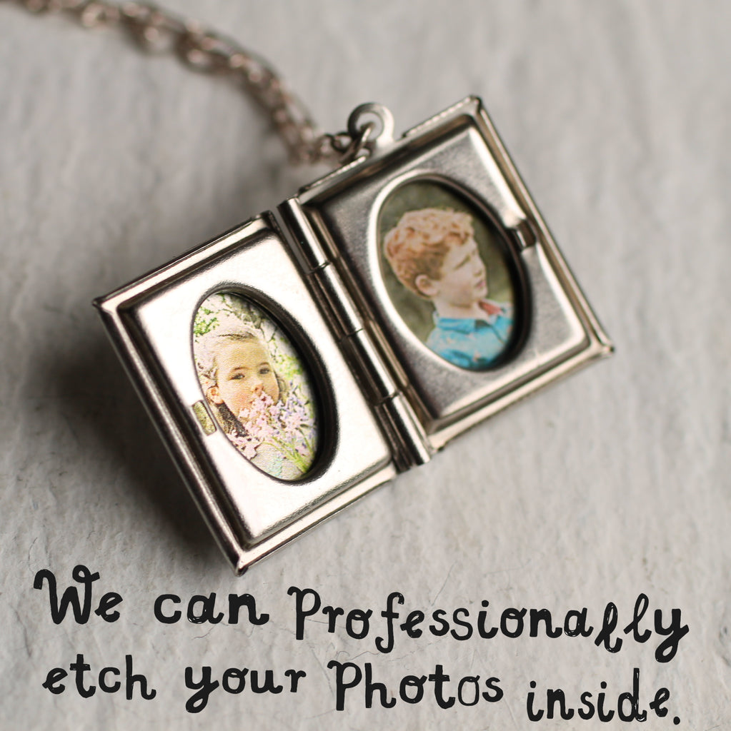 Silver Book Locket - Necklaces