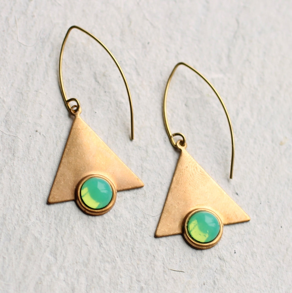 Green Opal Geometric Earrings - Earrings