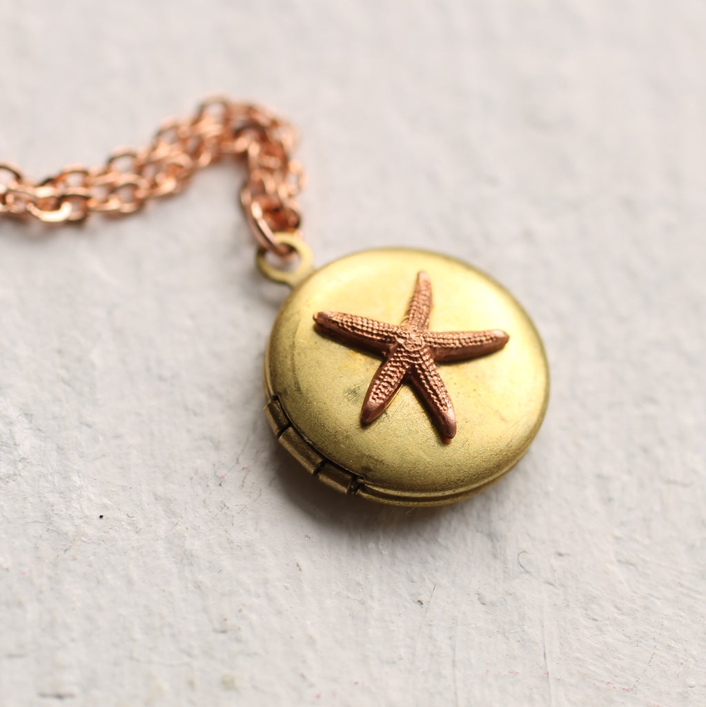 Tiny Starfish Locket - Necklaces