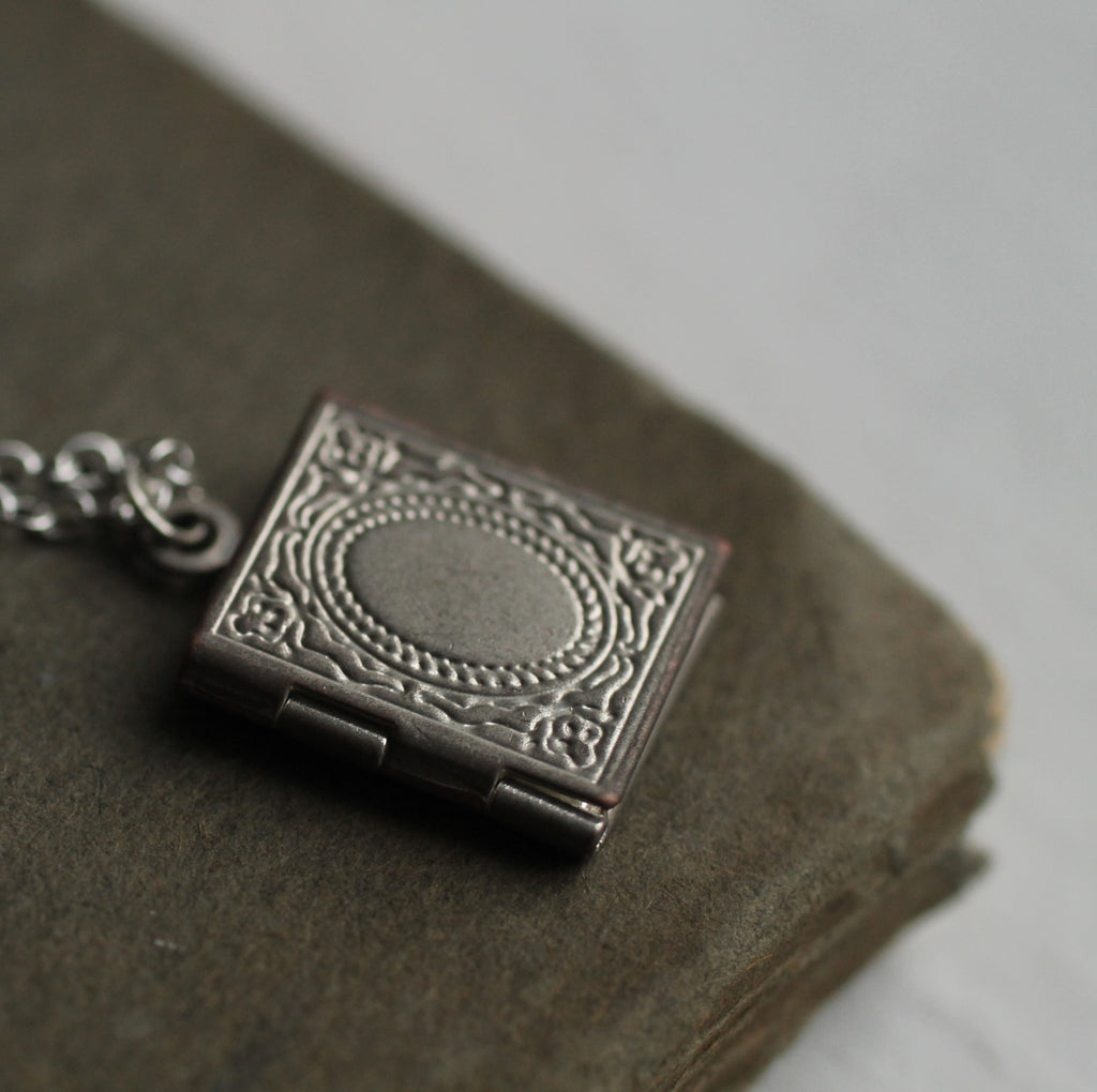 Silver Victorian Book Locket - Necklaces