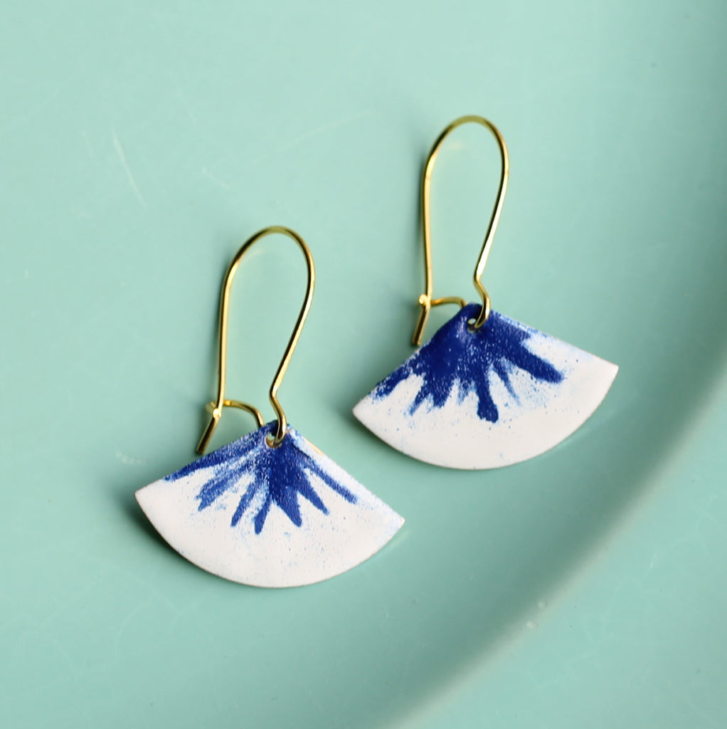 Blue Leaf Earrings - Earrings