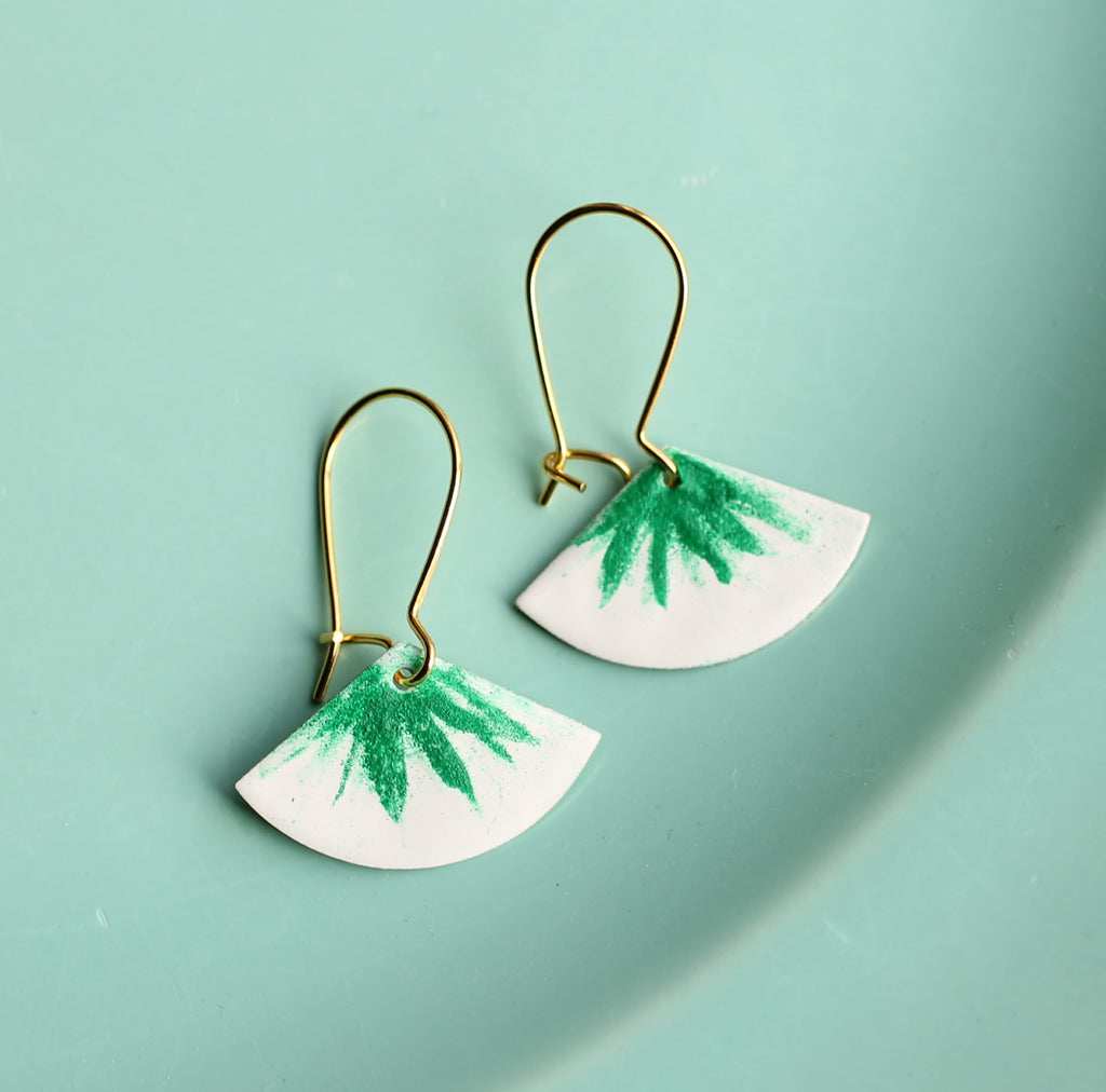 Green Houseplant Earrings - Earrings