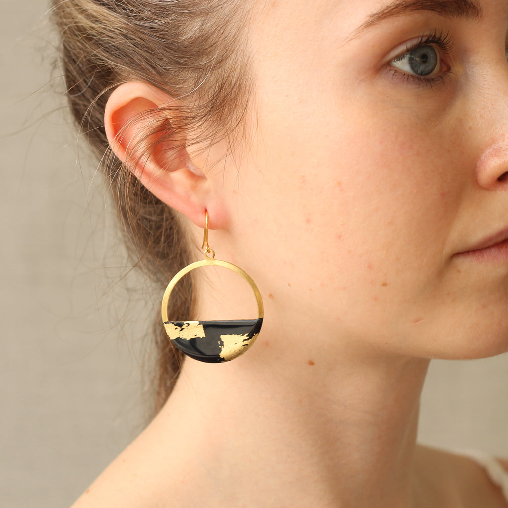 Black and Gold Hoop Earrings - Earrings