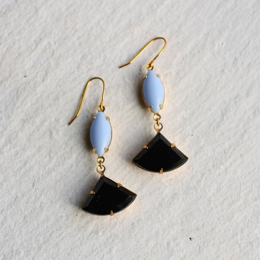 Jet Black & Violet Deco Earrings - Earrings