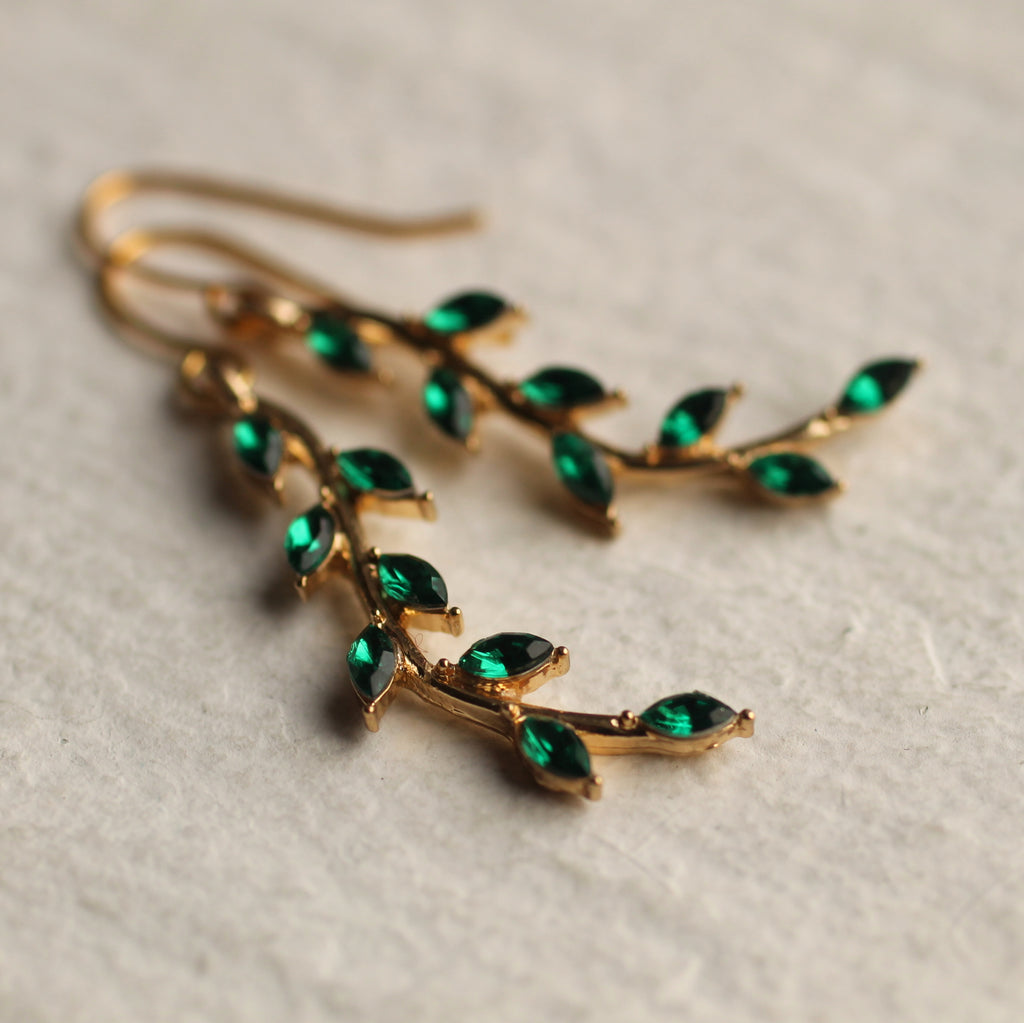Emerald Green Branch Earrings - Earrings
