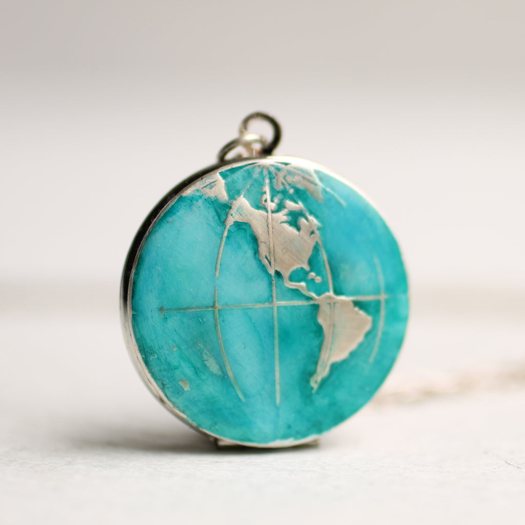 Map Locket Silver Watercolour - Necklaces