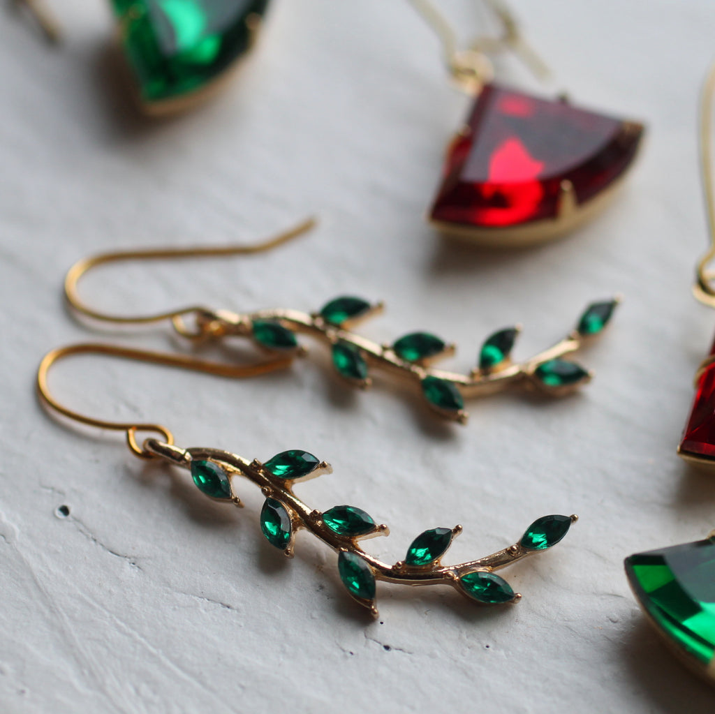 Emerald Branch Earrings - Earrings
