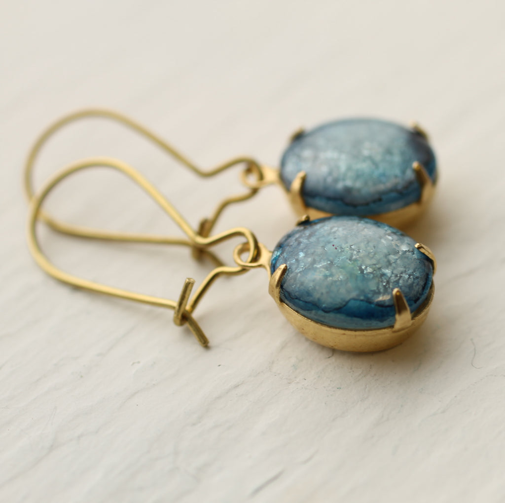 Cornflower Blue Opal Earrings - Earrings