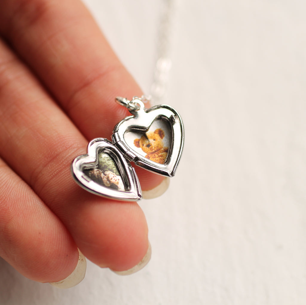 Tiny Silver Heart Locket - Earrings