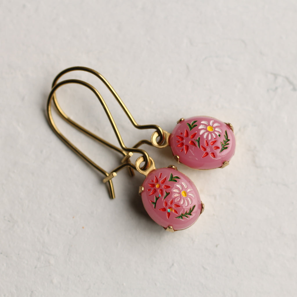 Pink Russian Folk Earrings - Earrings