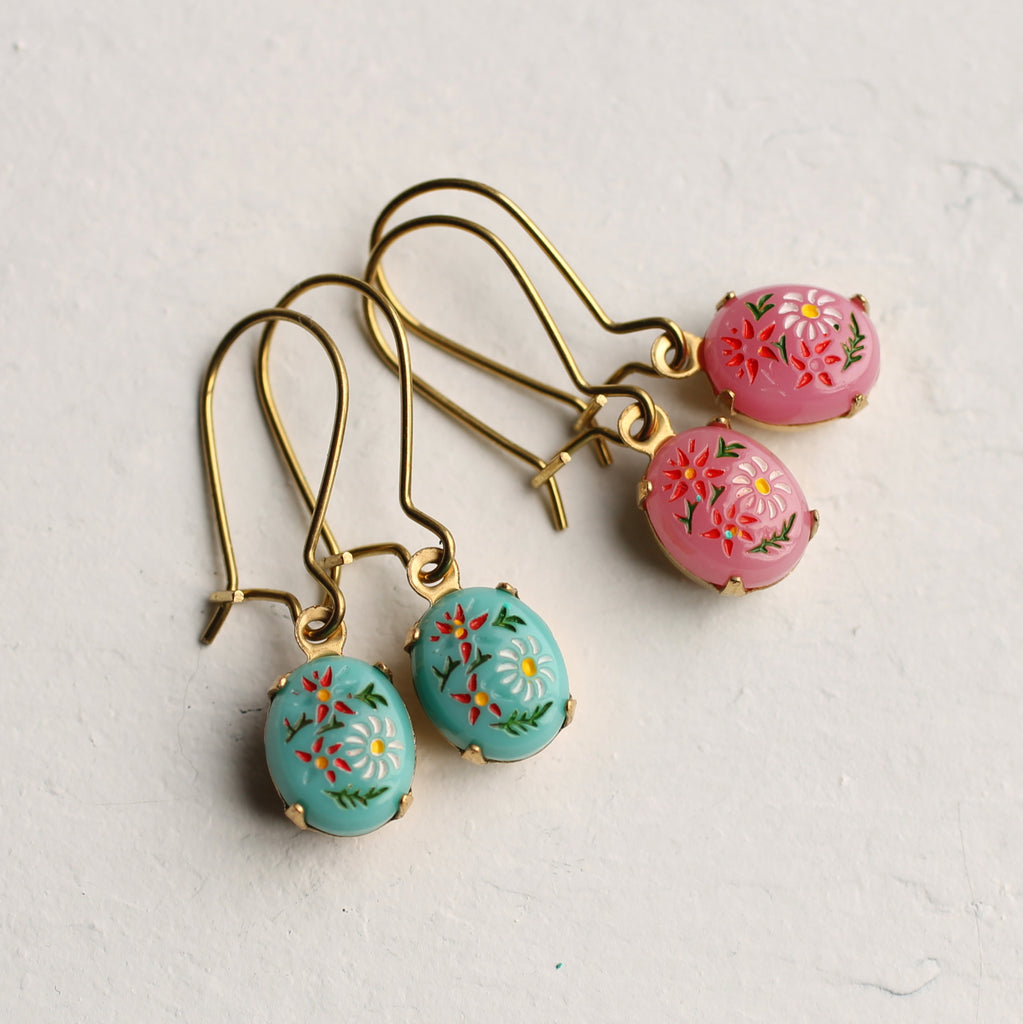 Turquoise Russian Folk Earrings - Earrings