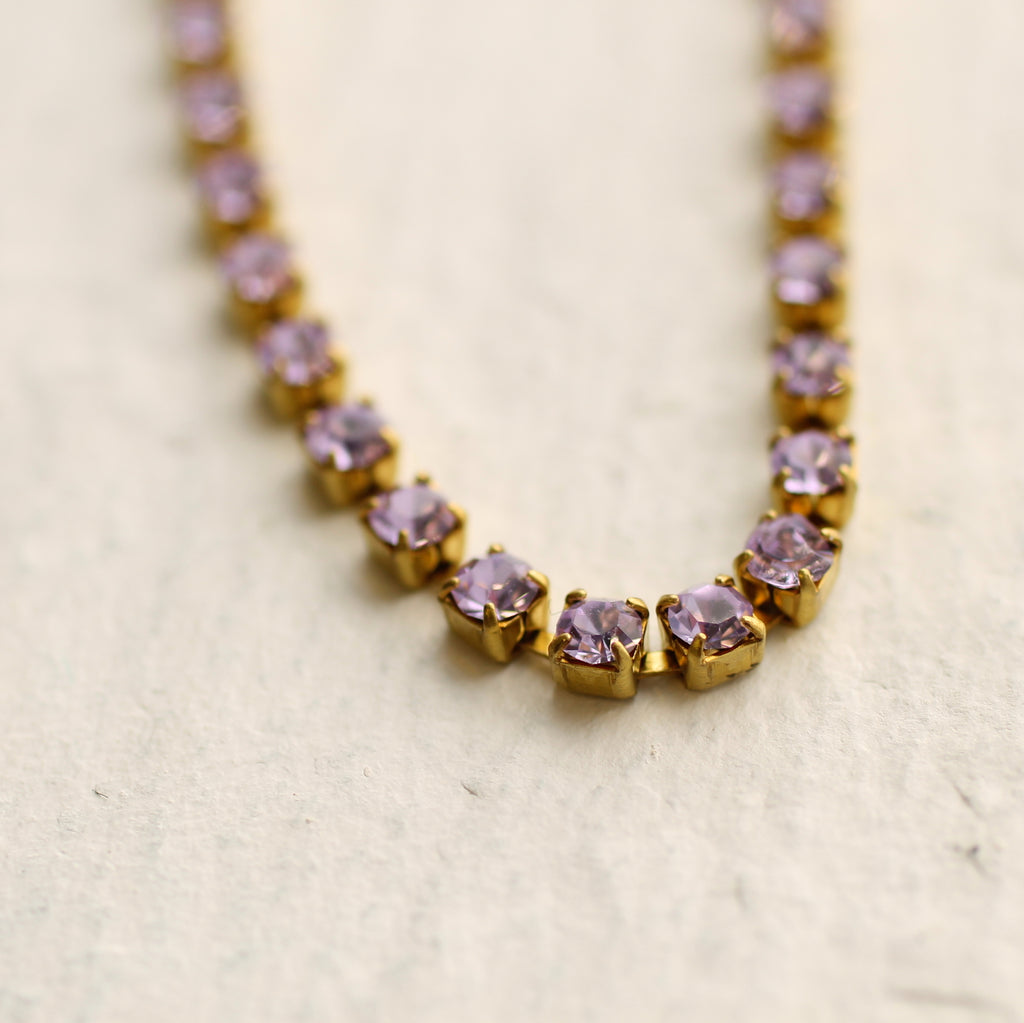 Lilac Diamond Box Chain Necklace - Necklaces