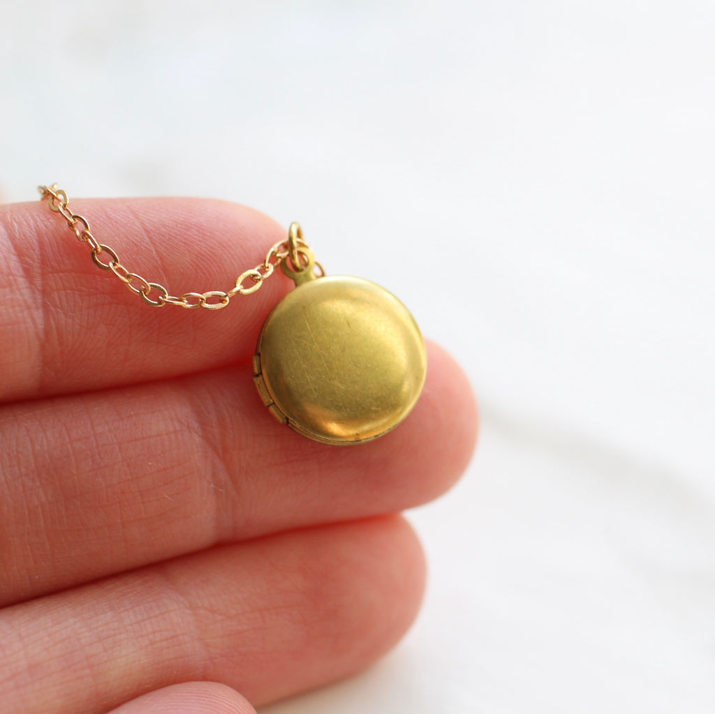 Tiny Round Locket - Necklaces