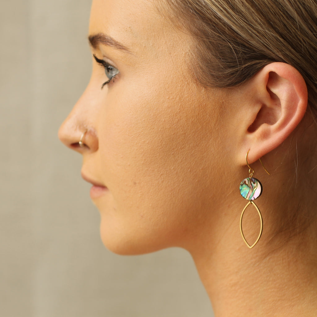Mother of Pearl Geometric Earrings - Earrings