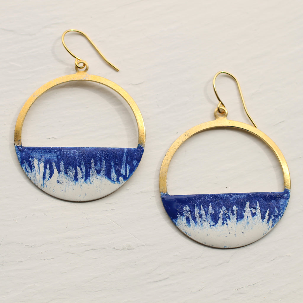 Blue Enamel Hoop Earrings - Earrings