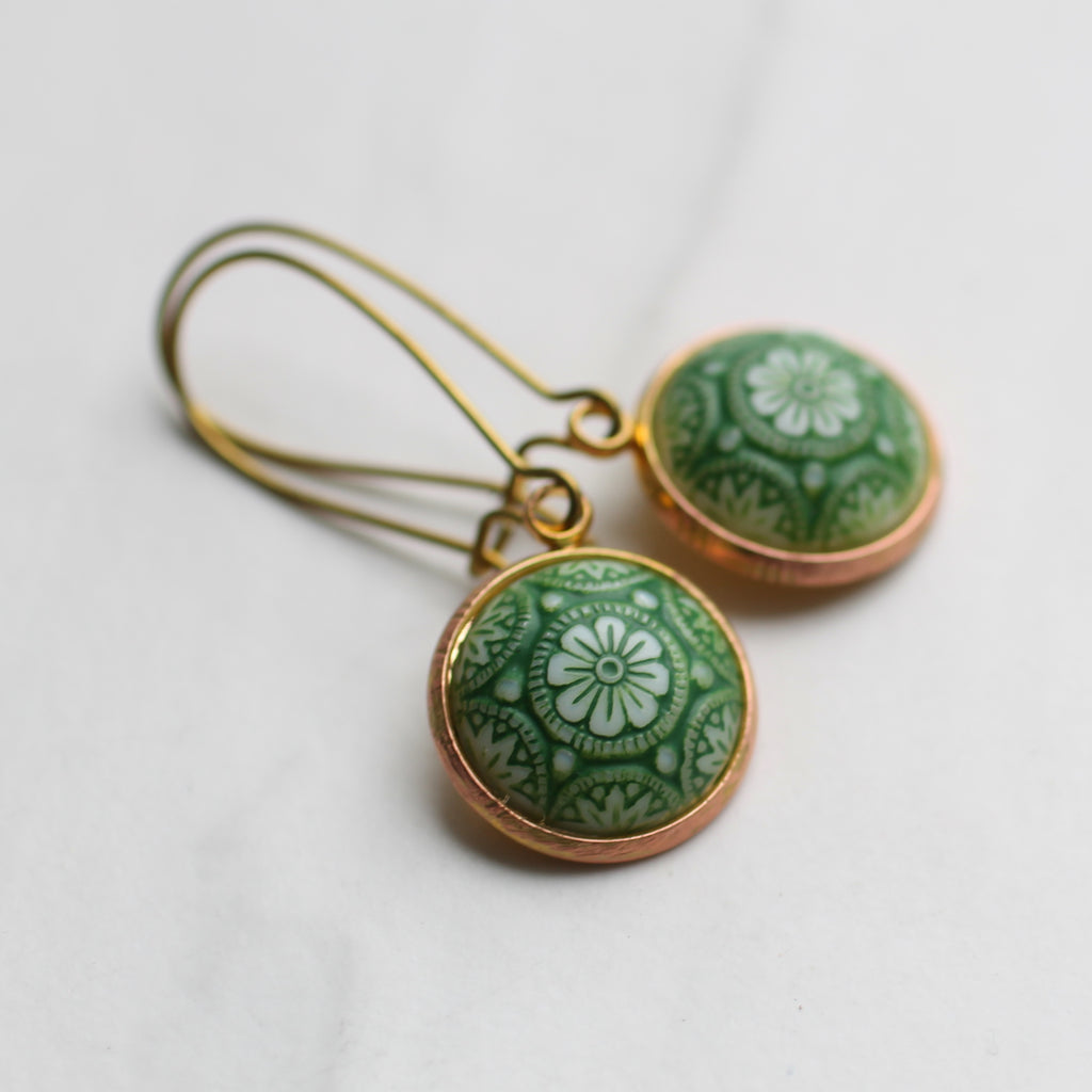 Green Moroccan Mosaic Earrings - Earrings