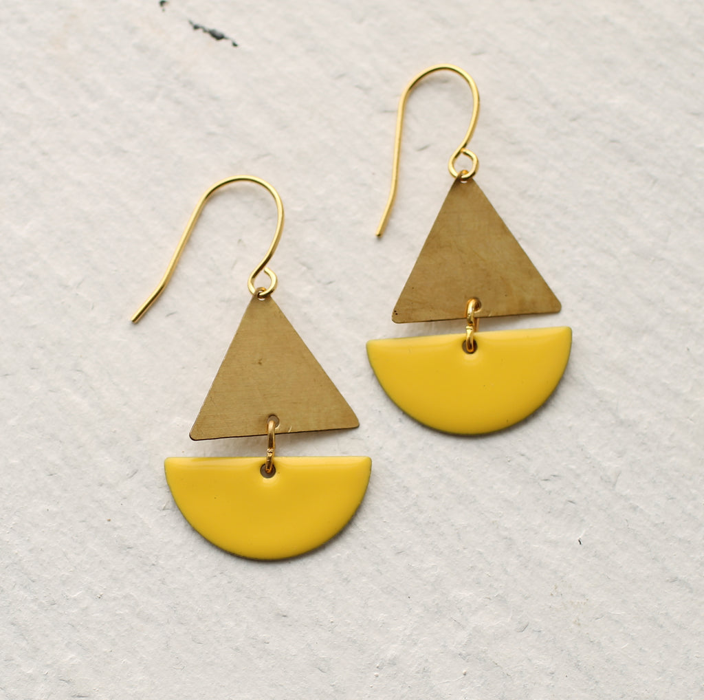 Yellow Sailing Boat Earrings - Earrings