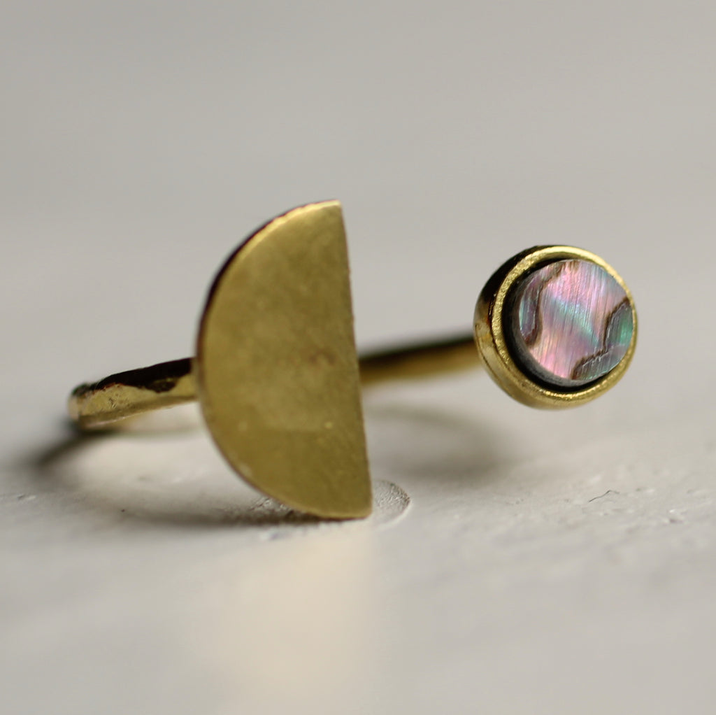 Brass Moon Ring - Rings
