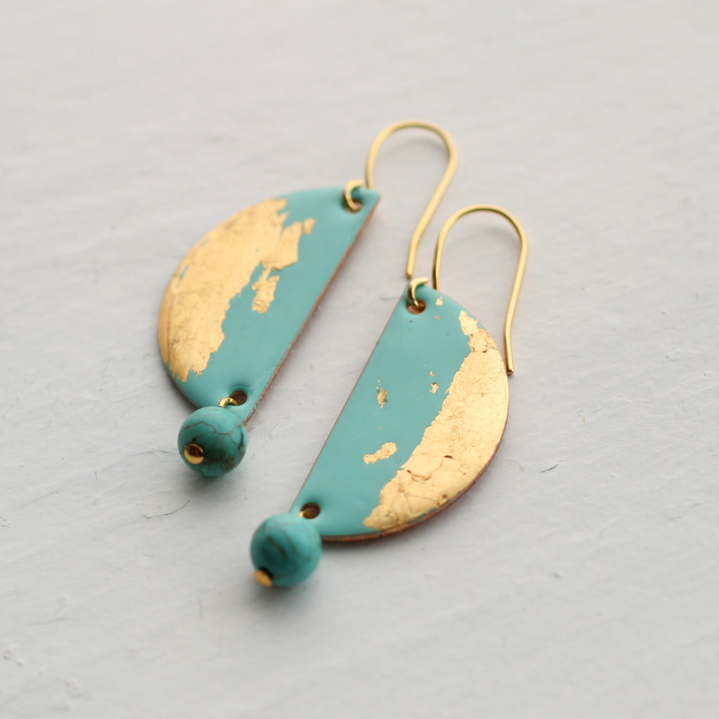 Seaside Turquoise Enamel Earrings - Earrings